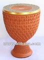 Clay Chrismatory Cup (with a lid) - Thai drum design