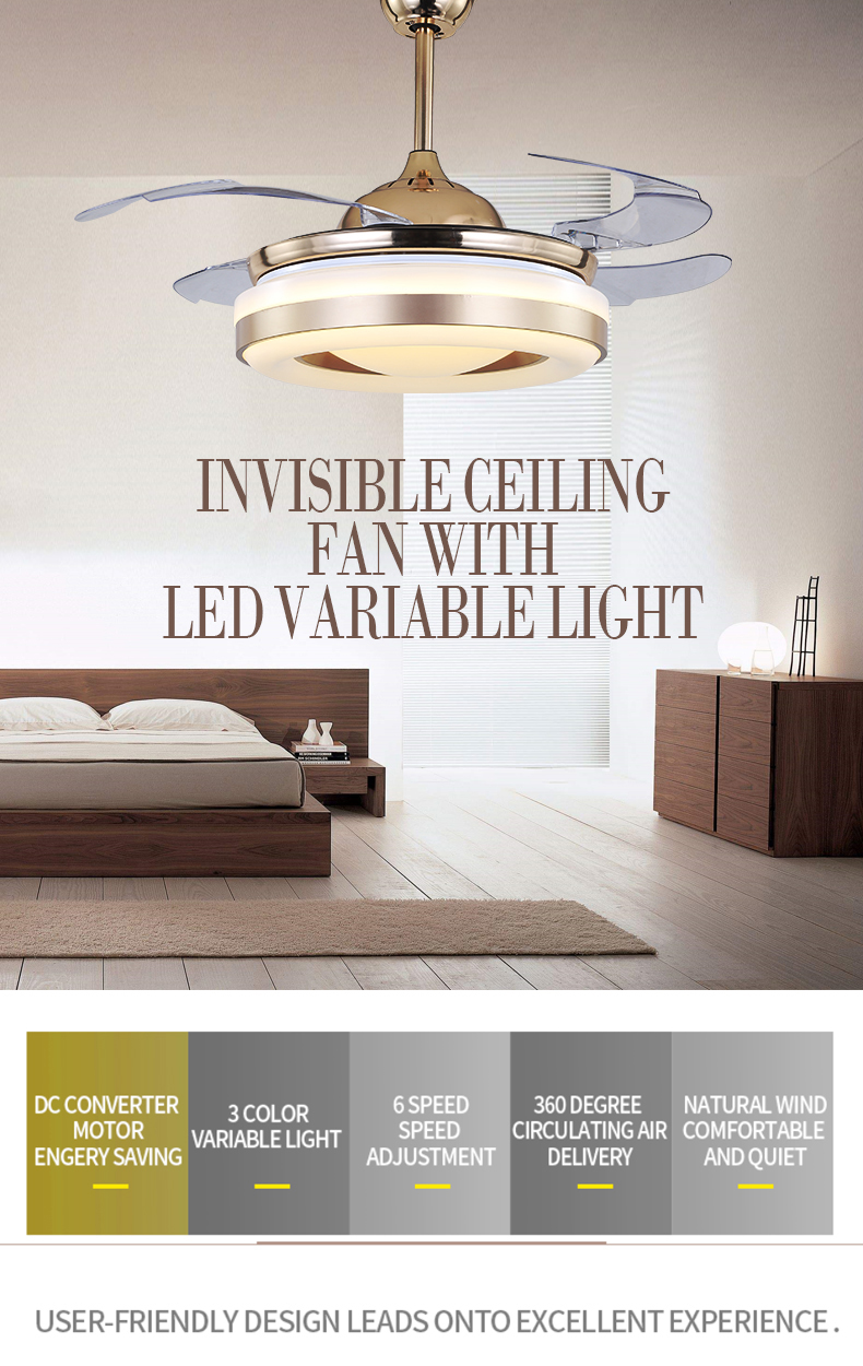 Special design home decorative fancy high quaility hidden blades lighting ceiling fans