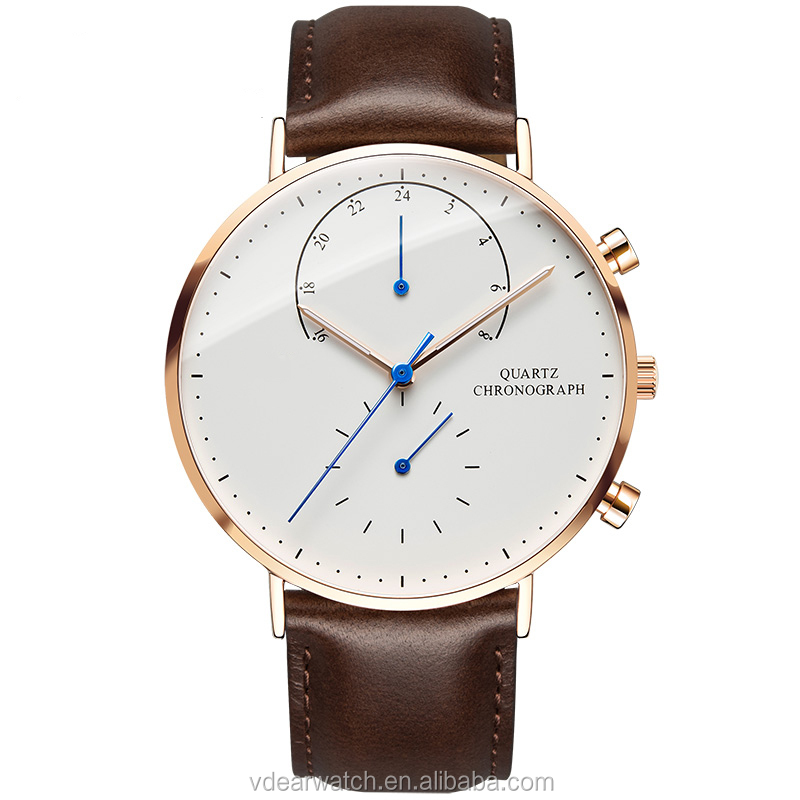2017 new style two eyes dual face minimalist chronograph watch logo leather band