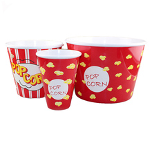 Set of 3pcs Food Grade Hot Sale Plastic Melamine Popcorn Bowl with Design