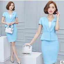 custom short sleeve V-Collar hot selling new formal dress woman suit wholesale