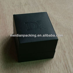 Good quality OEM black paper jewelry ring boxes