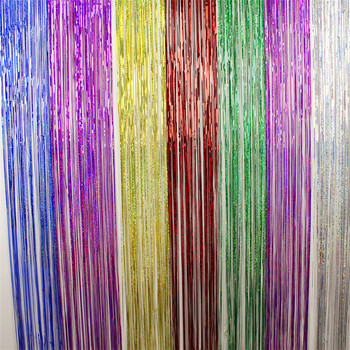 1mx3m Gold Tinsel String Foil Fringe Curtain Shiny Shimmer Party Wedding Birthday Door Decoration Icicle Tinsel