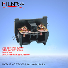 60A 600v Black 2 screw pin terminal block connector TBC-60A