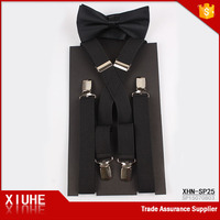 Garment Accessory Factory Custom black Elastic Suspenders with bowtie