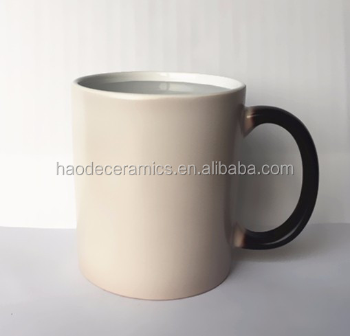 [ ZIBO HAODE CERAMICS]heat transfer 11 oz black coating magic mug sublimation mug