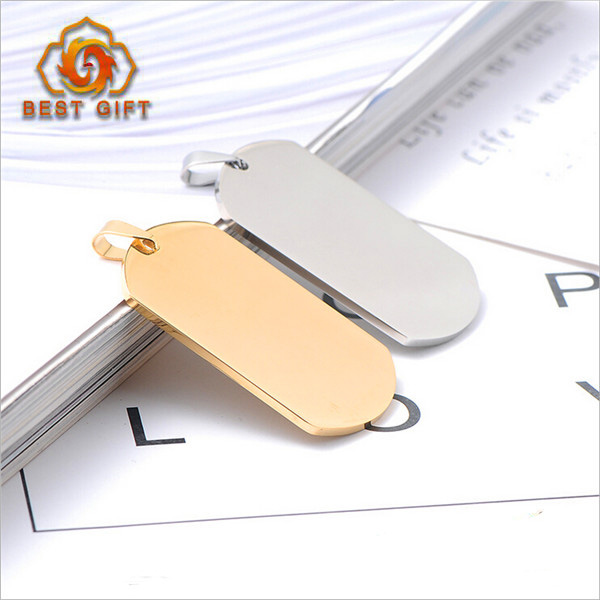 Custom logo titanium steel dog tag necklace,Hot sale gold,silver and black color U-shaped dog tag