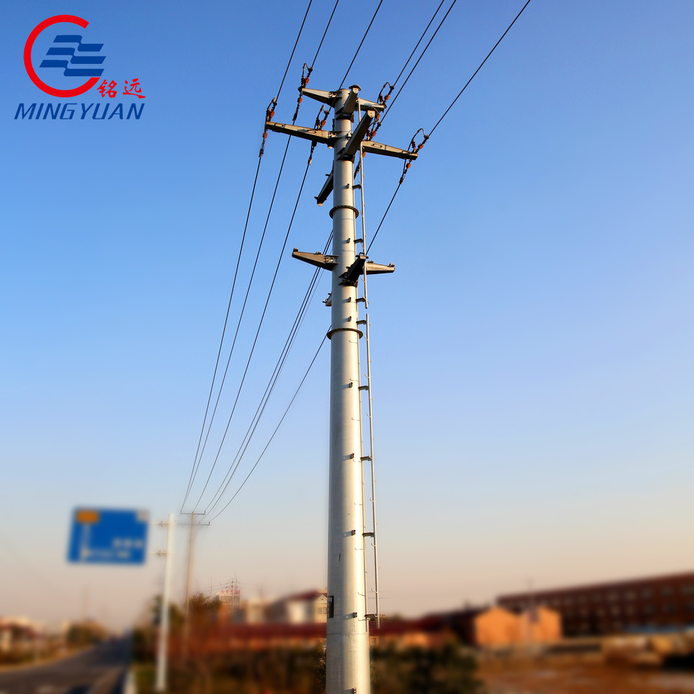 169kv transmission line galvanized steel poles with galvanization and bitumen for electrical power projects