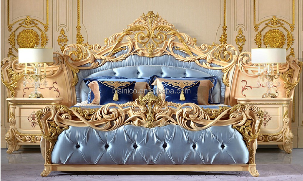 oro foglia mobili camera da letto, stile barocco Palace beige letto ...