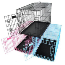 Pink Portable Folding Dog Pet Crate Cage Kennel with Two Door ABS Tray