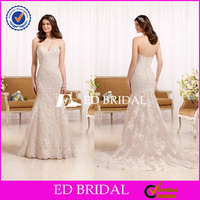 Strapless Lace Appliqued Mermaid Plus Size Wedding Dress 2016