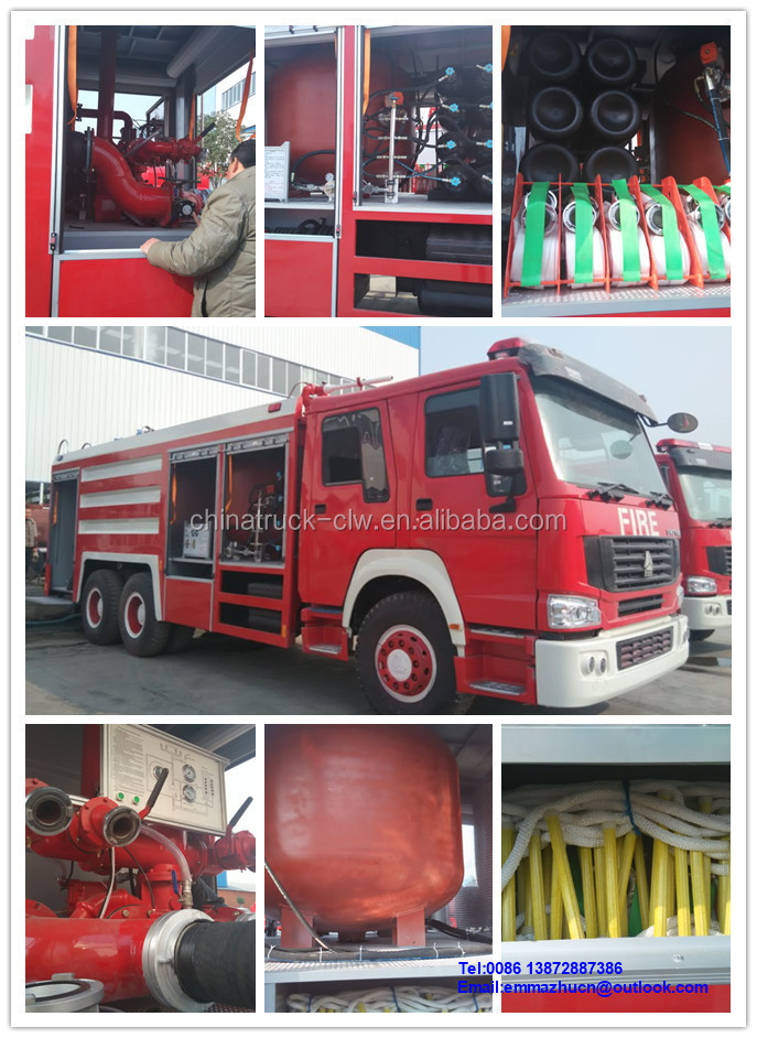 sinotruk howo 15m3 water and foam fighting truck
