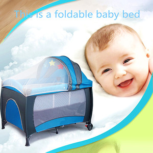 Multi- function Mosquito Nets Protection Foldable Baby Bed( Blue, Pink)