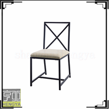new design X shape simple angle wrought iron chair