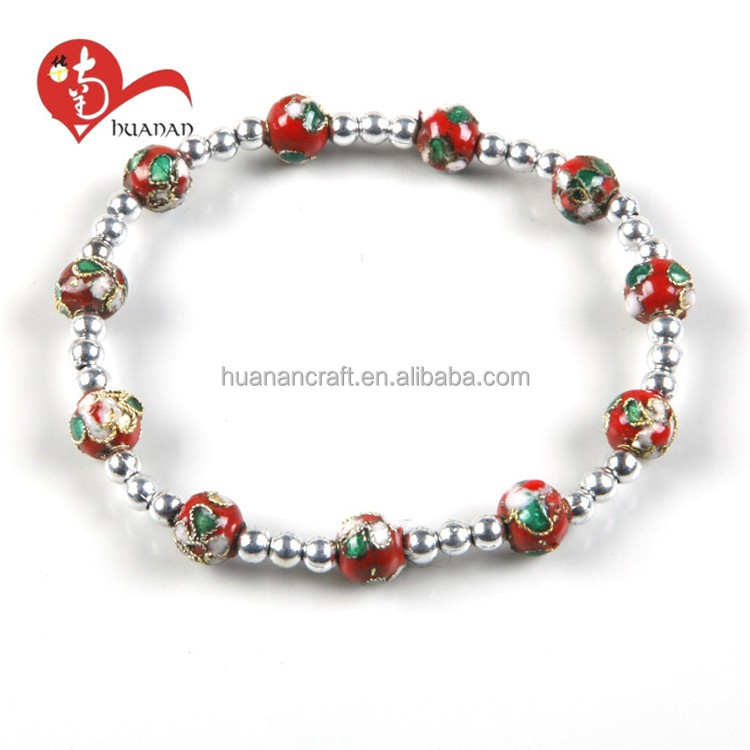 Hot sale 8MM cloisonne bead saint elastic handmade bracelet