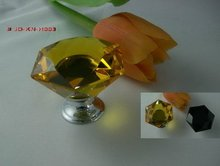 Crystal Dresser Knobs Hexagonal Faces in Amber / Black