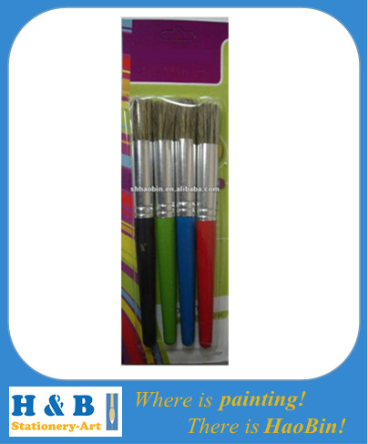 colour wooden handle stencil bristle brush set