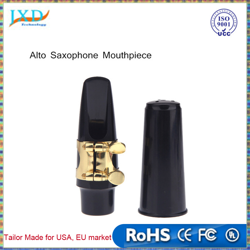 Saxophone Accessories Alto Sax Saxophone Mouthpiece Plastic with Cap Metal Buckle Black