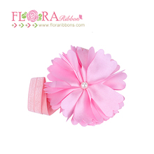 Baby girls hair accessories pink ribbon flower elastic headband