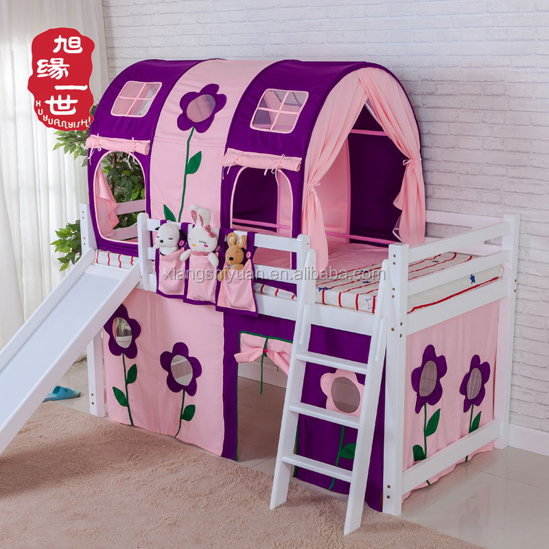 luxury loft bunk bed solid wood canopy bed for kids