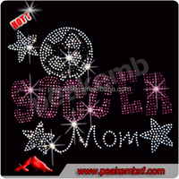 Best Quality Korean Rhinestone Soccer Mom Hotfix Motif Designs for Tee and Jacket
