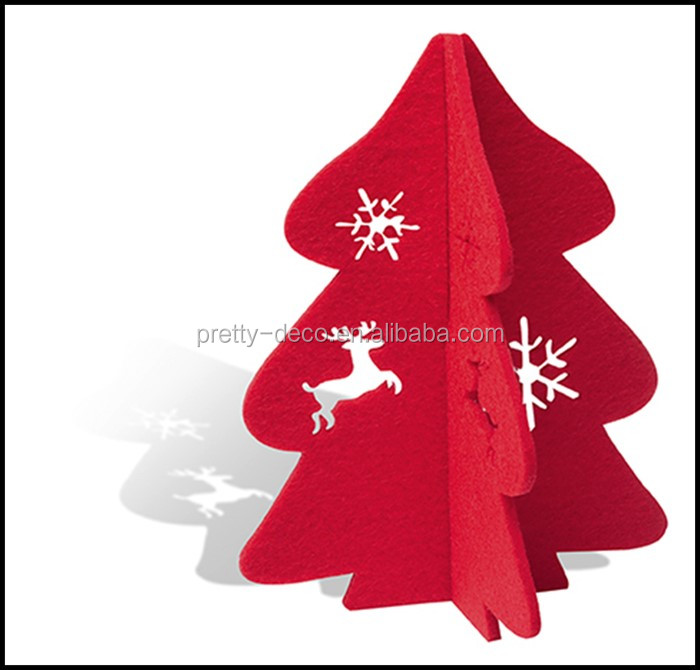 Christmas Decorations 3d Shapes Ks2 : D diy red felt christmas tree shape decoration set with
