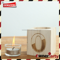 Fancy Design Custome Logo Square Wooden Candle Holder