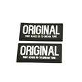 Most popular embossed logo rubber badge black rubber label patch