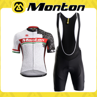 Monton sublimation printing club cycling jersey/ bib pants in lycra fabric
