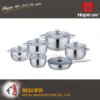 12pcs stainless steel cookware food steamer pot palm restaurant cookware , cast iron cookware