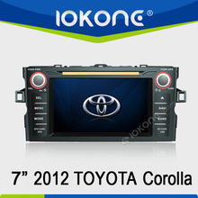 "7"" HD Touch screen 2 din 2012 toyota corolla dvd media player with gps, TMC, camera, mic, dvb-t"