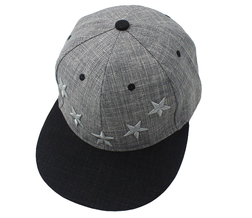 Custom two color Linen snapack caps hats unique stars 2d embroidered snapback cap hat wholesale