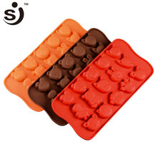 Hot Selling 3D Cartoon Animal Head Non-Stick Reusale Chocolate Form Silicone Chocolate Mold