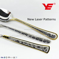 2017 NEW Italian design kitchen cutlery with LASER patterns on the spoon and fork handles