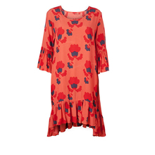 2018 oem casual women clothing custom printed spring dress red flared pleated dress