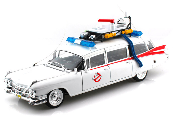 Hot Wheels 1/18 Scale 1959 Cadillac Ambulance ECTO 1 Ghostbusters 1 Movie Diecast Car Model BCJ75