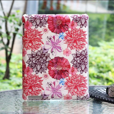 colorful flower pattern flip leather case for Ipad 4 tablet