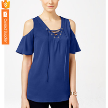 Western Style Latest Fashion Cutting Tops Tie Front New Blouse Neck Design