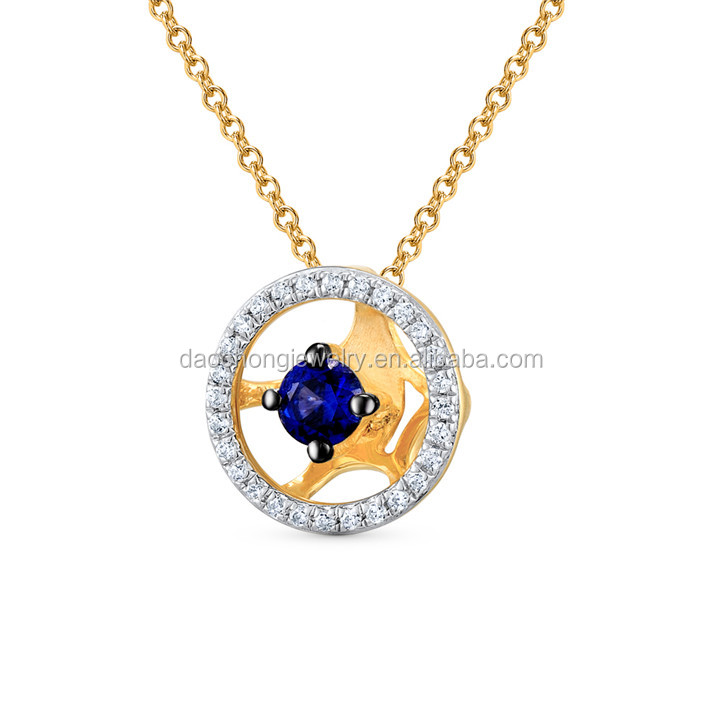 Women 925 Sterling Silver Round Shape Blue Sapphire Pendant Necklace