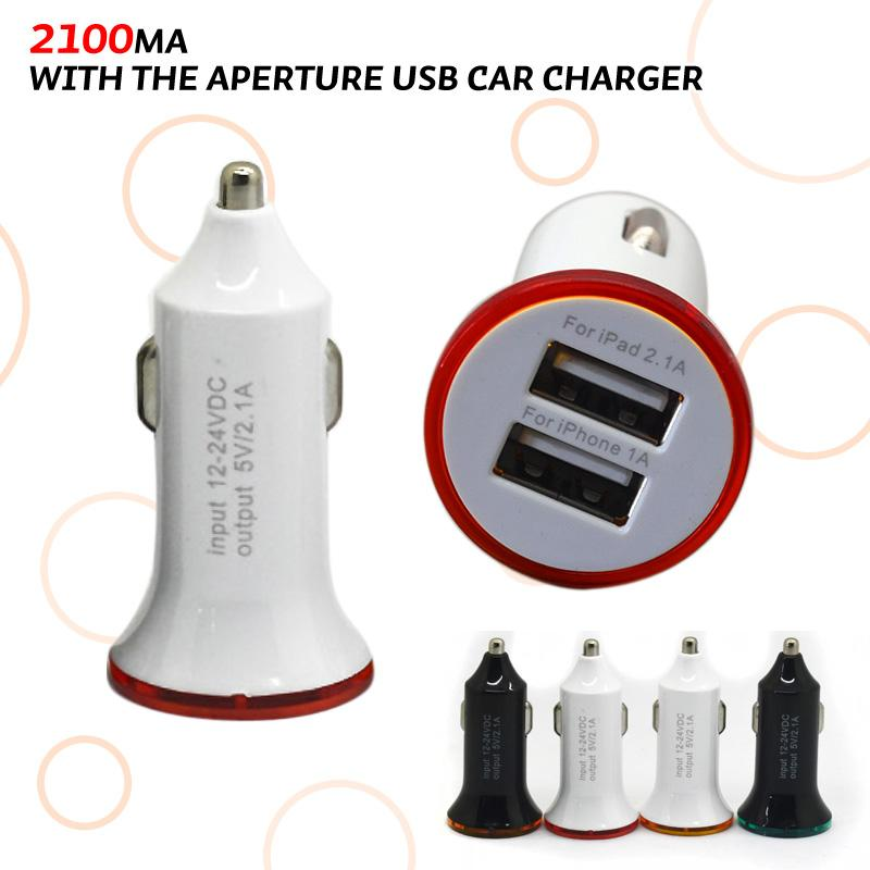 Dual USB Car Charger 5V 2A 2100Ma Dual 2Port USB Car Charger for Sansung S3 S4 HTC Apple Iphone 5 iPad 2 iPhone 3G 3GS 4g ipod