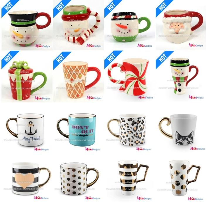 Hot New Products Golden Handle Ceramic Golden Drinking Mug Ceramic Cup