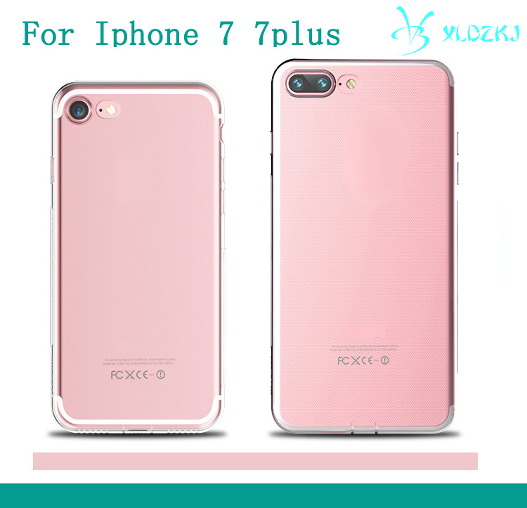 Fashionable Cellphone Cover Transparent Soft TPU Bumper + Crystal Clear for 7 And 7 Plus Case