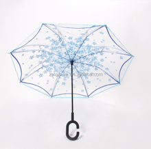 Automaitc waterproof clear reverse umbrella for car rain cheap transparent foldable reverse umbrella