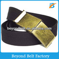 Beyond Men's Army Cotton Webbing Fabric Belt with Embossed Logo Brass Buckle