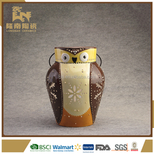 owl shape hollow ceramic led candle lantern for garden decoration
