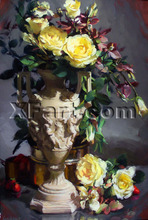 Hotel lobby flower oil painting