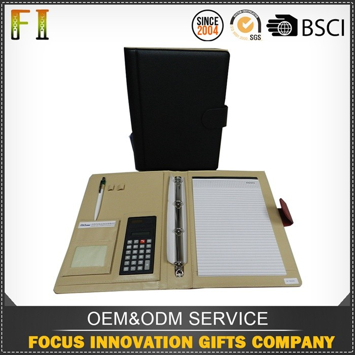 High quality leather business portfolio file folder with calculator
