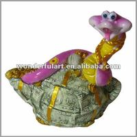 cute snake resin secret money box