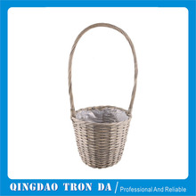 Outdoor grey willow basket with big handle for sale