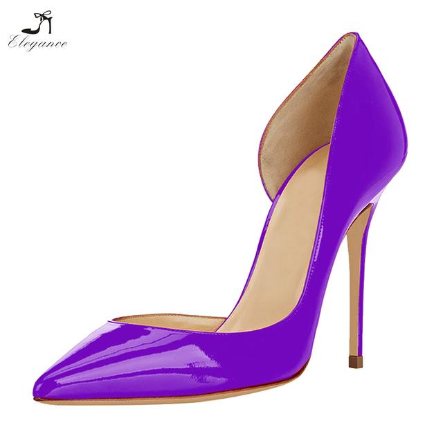 2018 Elegant Ladies Purple Dorsay Stiletto High Heel Shoes Pumps Women Large Size Office Evening Shoes
